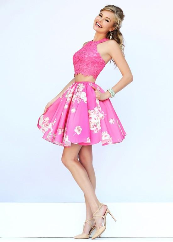 زفاف - 2015 Pink Halter Neck Two Piece Applique Homecoming DressSherri Hill 32245