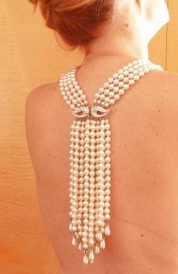 Hochzeit - Elegant Vintage 1940s Back Bib Runway Necklace Waterfall Rhinestone-Glass Pearls