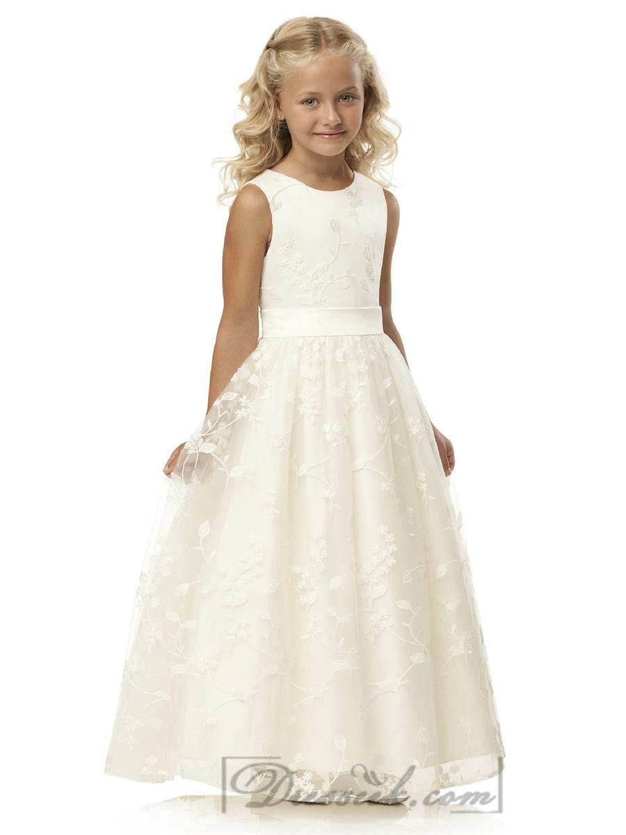 Mariage - Sleeveless Jewel Neckline Full Skirt Flower Girl Dresses with Ivory Belt