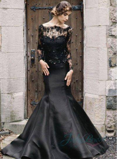 Boda - 2015 black color illusion lace long sleeved mermaid wedding dress