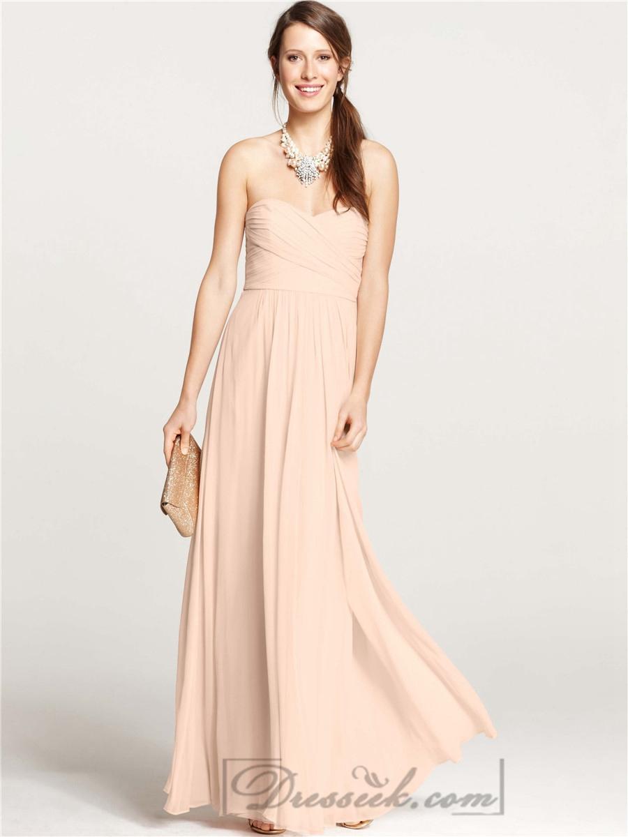Hochzeit - Strapless Shirred Sweetheart Floor Length Bridesmaid Dresses