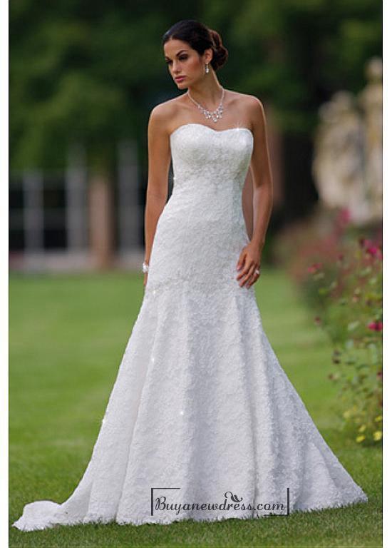 Wedding - Beautiful Elegant Lace A-line Sweetheart Wedding Dress In Great Handwork