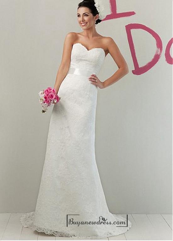 Свадьба - Beautiful Lace & Satin Sheath Sweetheart Raised Waist Wedding Dress