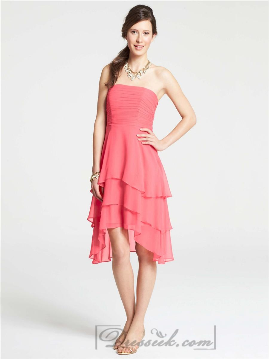 Hochzeit - Strapless Shirred Knee Length High Low Bridesmaid Dresses