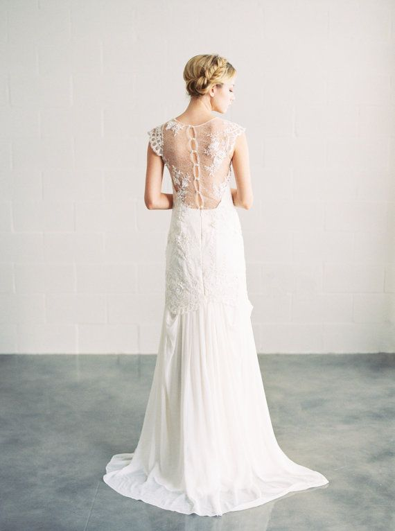 Hochzeit - Ava - Beaded Lace And Silk Wedding Dress