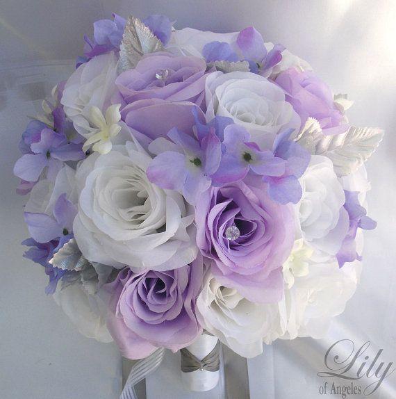 "Hochzeit - 17 Pieces Package Silk Flower Wedding Decoration Bridal Bouquet WHITE LAVENDER ""Lily Of Angeles"""