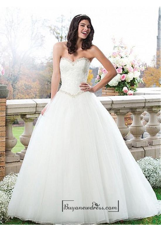 Wedding - Beautiful Organza & Satin & Tulle Ball Gown Sweetheart Basque Waistline Wedding Dress