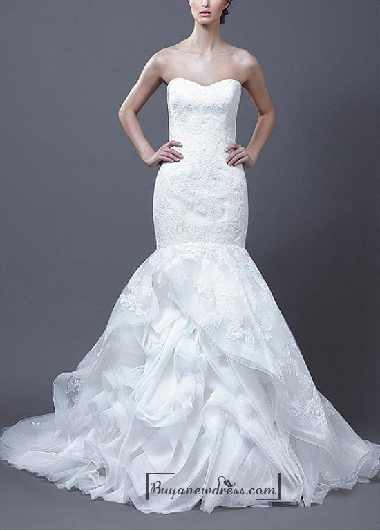 Beautiful organza satin tulle mermaid strapless for Sweetheart neckline drop waist wedding dress