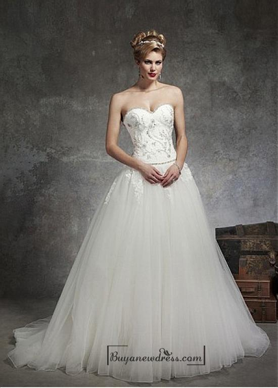 Beautiful Satin Tulle Ball Gown Sweetheart Neck Dropped