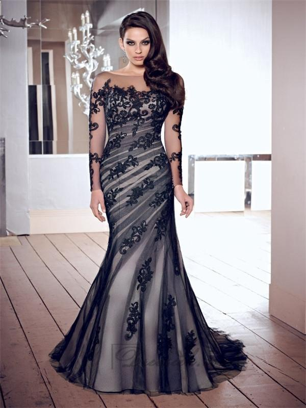 Wedding - Luxurious Scoop Mermaid Appliques Long Sleeves V-back Prom Dresses