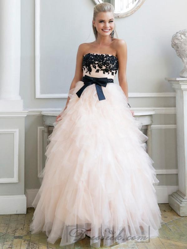 Wedding - Luxury Strapless Floral Embellished Long Prom Dresses with Ruffled Skirt