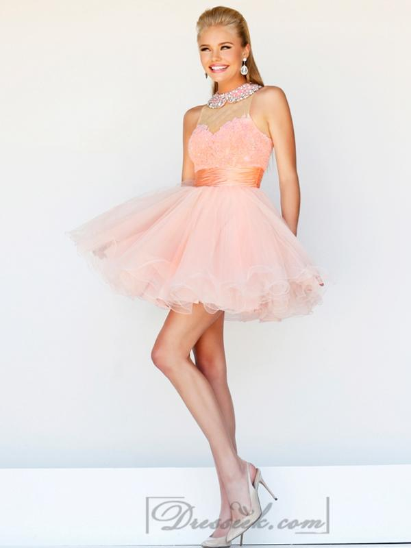 Boda - Short High Neck Sheer Lace Prom Dresses with Pleated Skirt