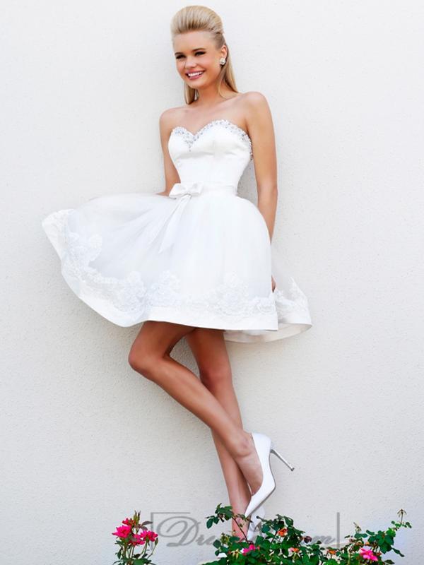 Wedding - Short Strapless Beaded Sweetheart Babydoll Prom Dresses