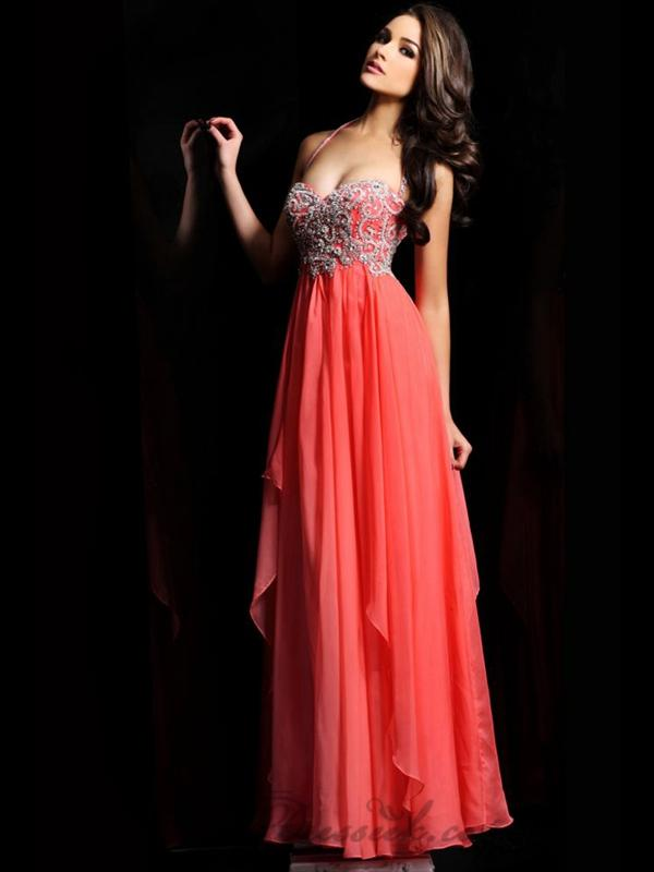 Hochzeit - Halter Sweetheart Beaded Full Length Prom Dresses with Layered Skirt