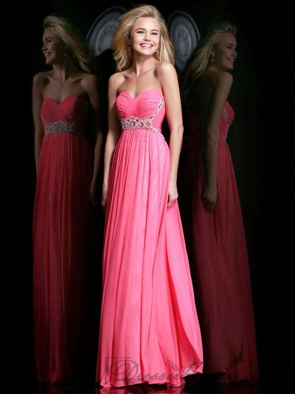 Wedding - Strapless Plunging Sweetheart Ruched Bodice Floor Length Prom Dresses