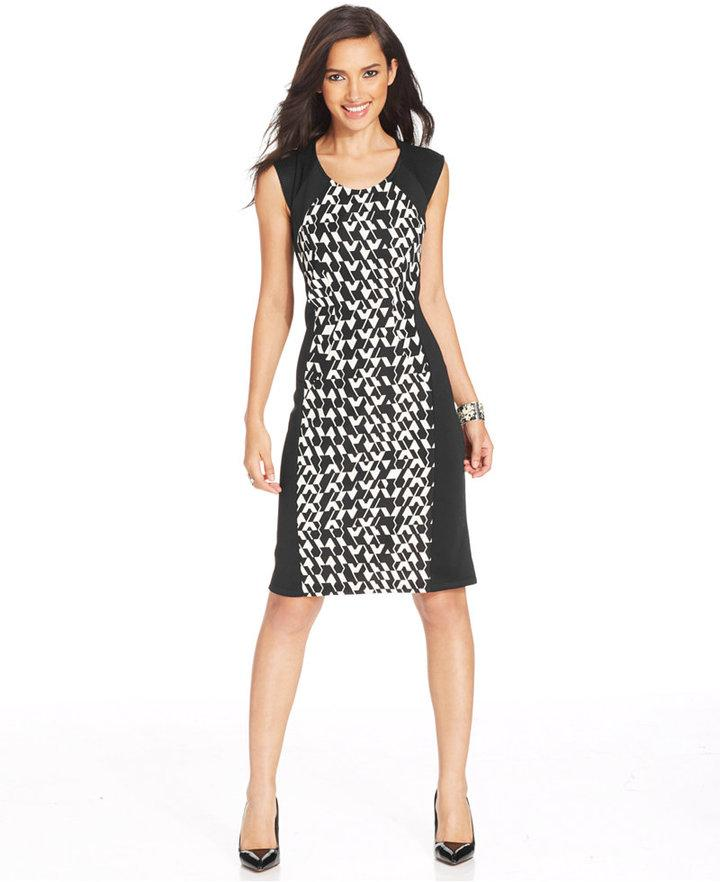 NY Collection Cap Sleeve Houndstooth Print Dress 2201900