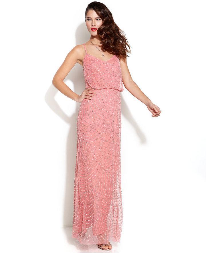 Adrianna Papell Spaghetti-Strap Beaded Blouson Gown #2201908 - Weddbook