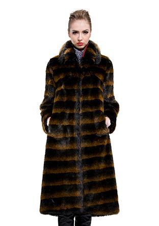 Wedding - Brown Stripes On Black Faux Chipmunk Fur Long Coat