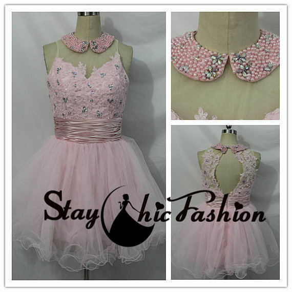 Wedding - Pink Pearls Beaded Collar Neck Floral Applique Top Short Princess Prom Dress