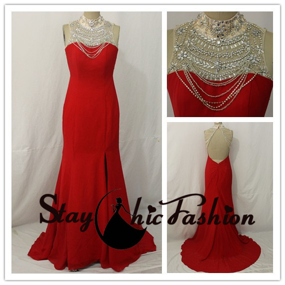 Hochzeit - Red Long Rhinestone Beaded High Neck Slit Open Back Jersey Evening Gown