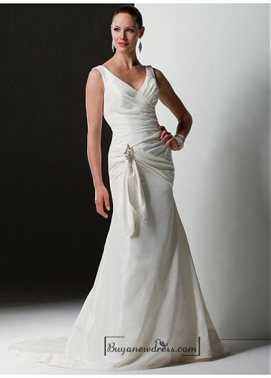 Hochzeit - Beautiful Elegant Exquisite Taffeta Mermaid V-neck Wedding Dress In Great Handwork
