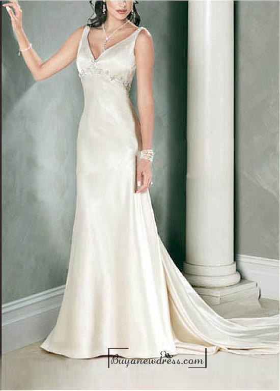 Wedding - Beautiful Elegant Stretch Satin Sleeveless Beaded Wedding Dress In Great Handwork