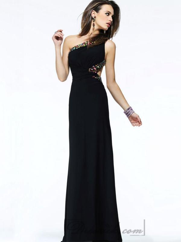 Wedding - Embellished One-shoulder Neckline and Waist Open Back Long Prom Dresses