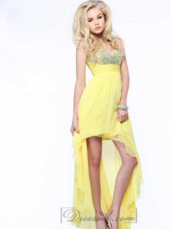 Wedding - Strapless Sweetheart Beaded High Low Prom Dresses