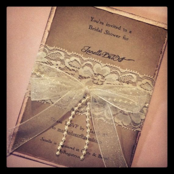 Lace and pearl hand made invitation wedding shower for Pearl wedding invitations