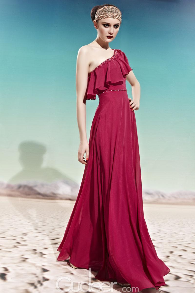 Wedding - Virtual Pink One-shoulder Beaded Flutter Detail Long Ruffled Chiffon Prom Dress