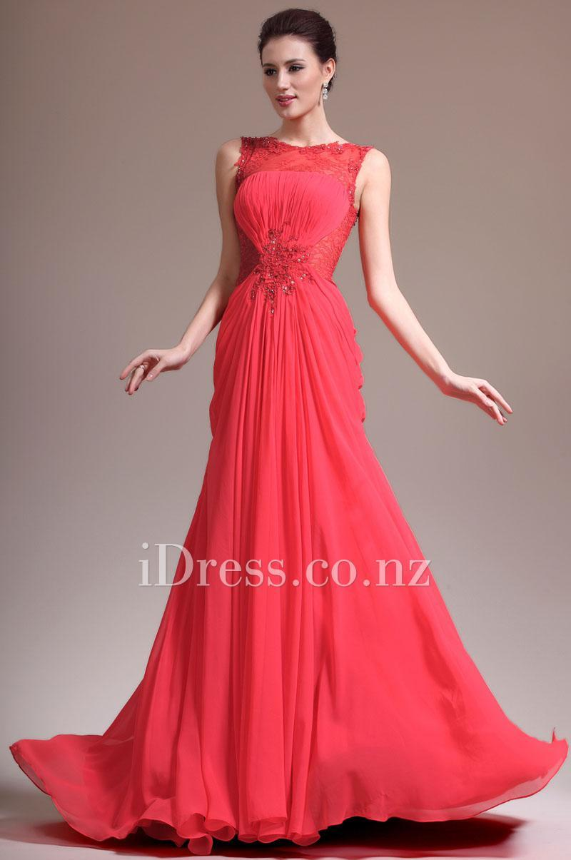 Long red chiffon evening dress