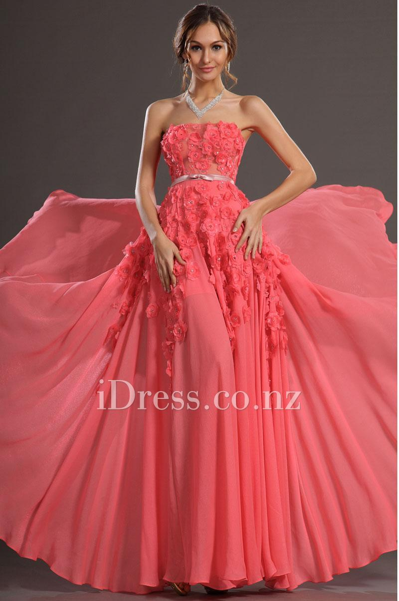 Watermelon chiffon straight flower embellished a line prom dress watermelon chiffon straight flower embellished a line prom dress ombrellifo Images
