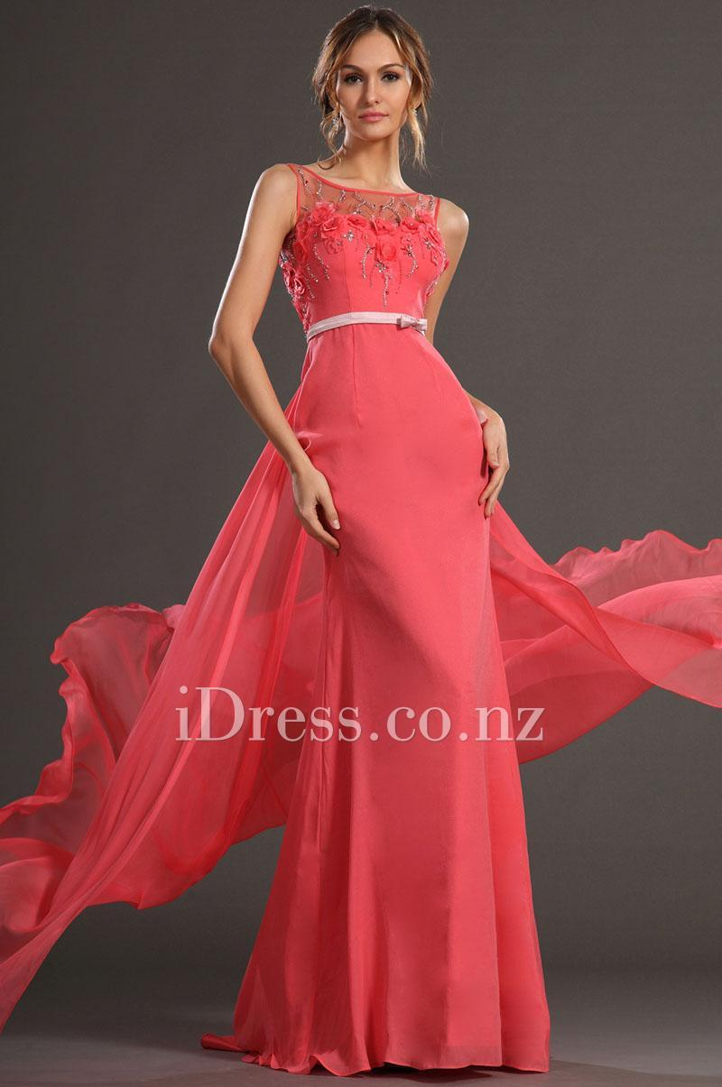 Wedding - Watermelon Illusion Neck Sheath Chiffon Flowers Beaded Evening Dress