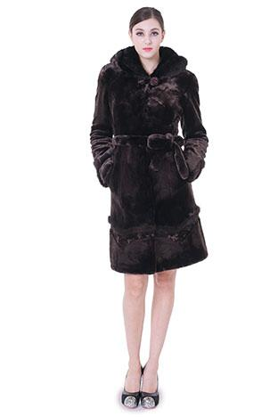 Boda - Faux dark purple mink cashmere and fur with rubby button women middle coat