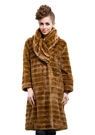 Hochzeit - faux fur wrap with brown collar women long  jacket