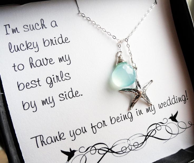 Wedding Thank You Gifts For Bridesmaids: Bridesmaid Thank You Cards With Starfish Lariat Necklace