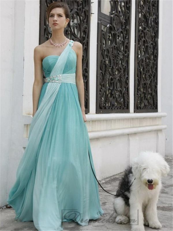 Свадьба - Asymmetric One Shoulder Aqua Long Grecian Style Formal Dresses