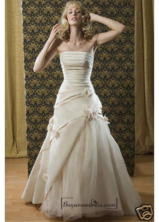 Свадьба - Beautiful Elegant Exquisite Taffeta A-line Wedding Dress In Great Handwork
