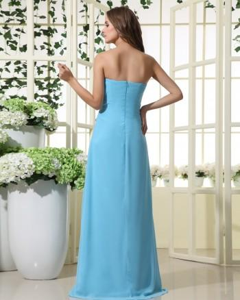 Wedding - Blue A-line Long Strapless Chiffon Bridesmaid Dress(BTBD414)