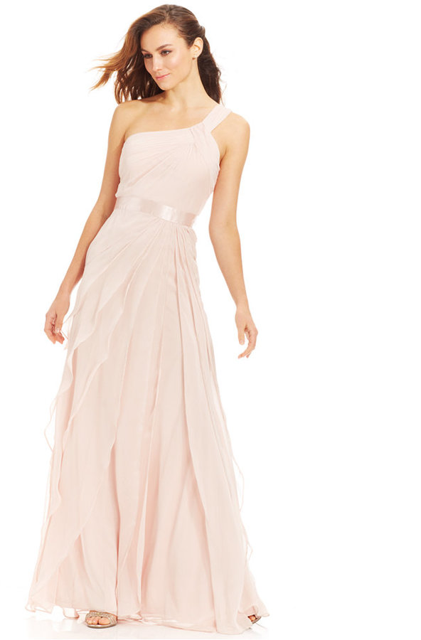 Adrianna Papell Petite One Shoulder Tiered Chiffon Gown 2203028