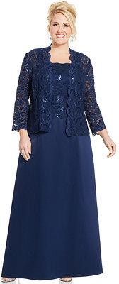 Alex evenings sequin lace dress and jacket