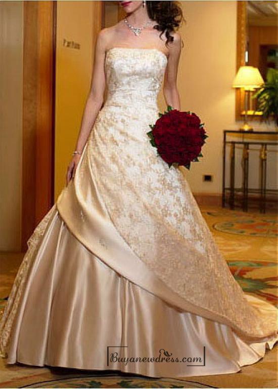 Hochzeit - Beautiful Elegant Satin & Lace A-line Strapless Wedding Dress In Great Handwork
