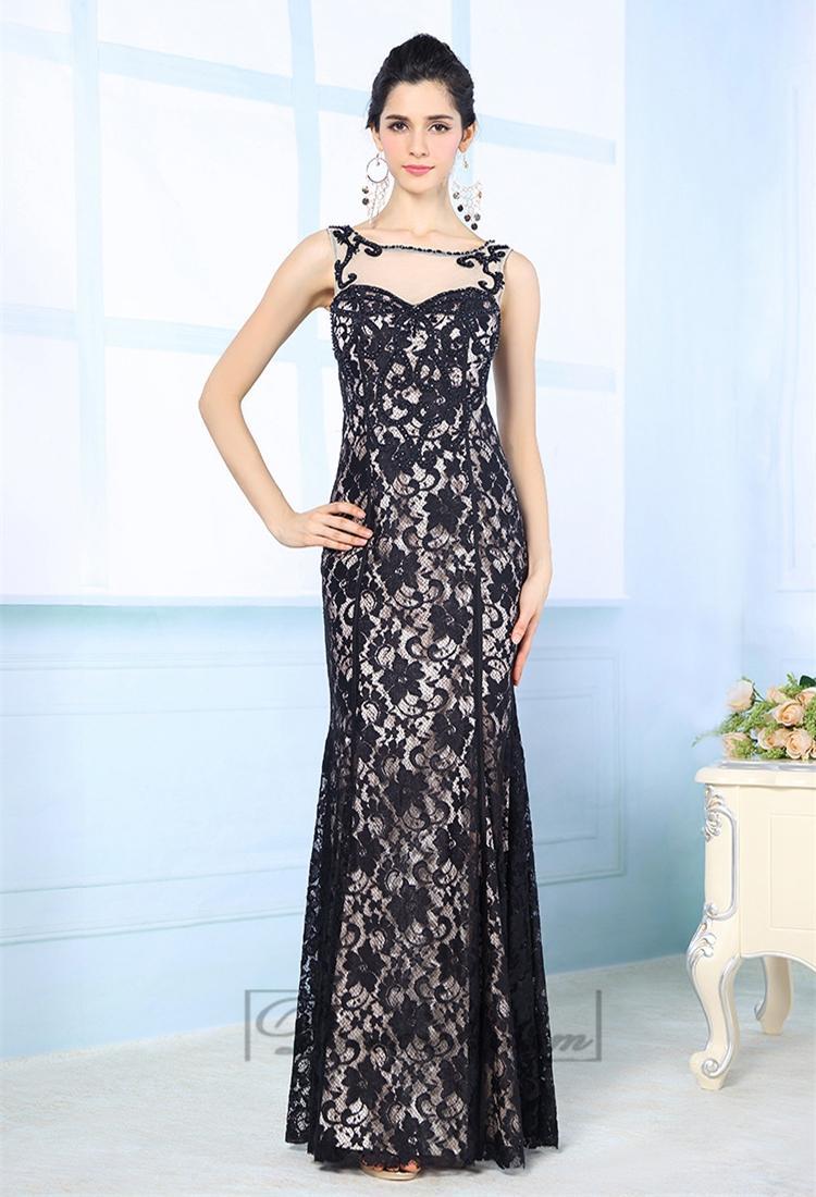 Wedding - Luxury Illusion Boat Neckline Black Lace Appliques Long Prom Dresses