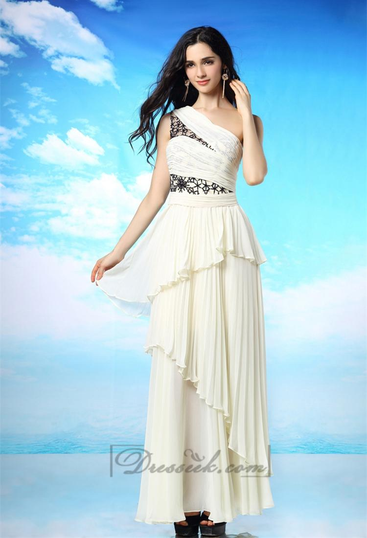 Свадьба - Milky-white One Shoulder Pleated Long Prom Dress with Layered Skirt