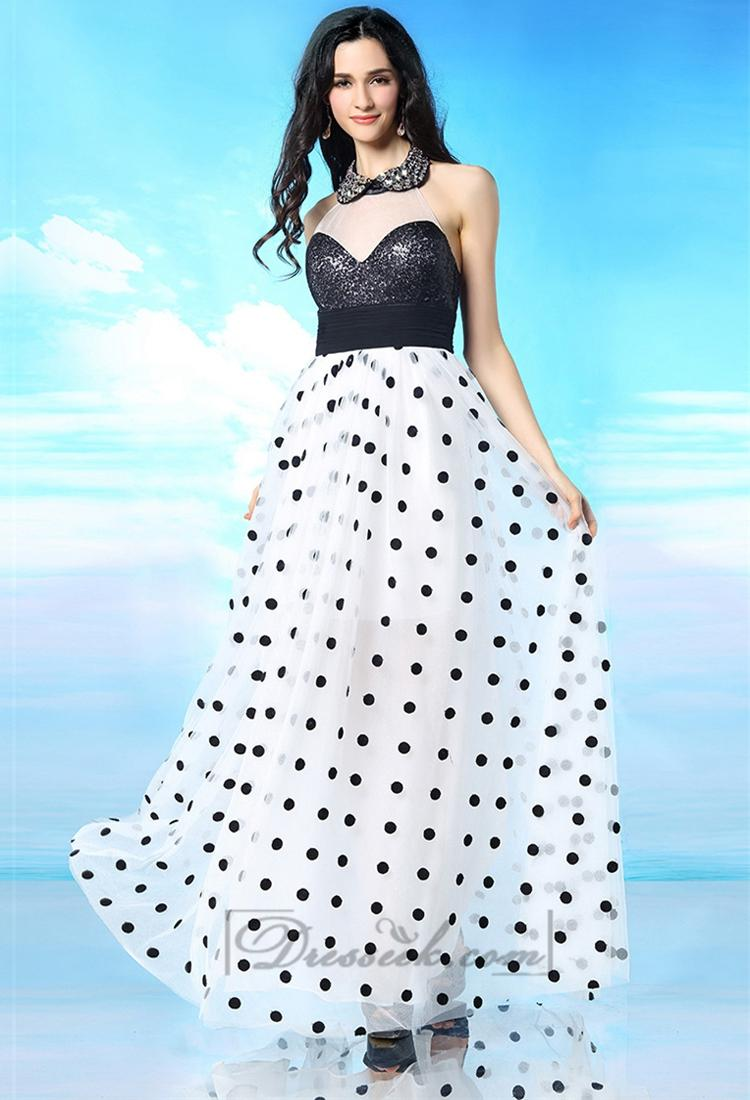 Hochzeit - Beaded Illusion High Neckline Open Back Prom Dress with White-black Spot Skirt