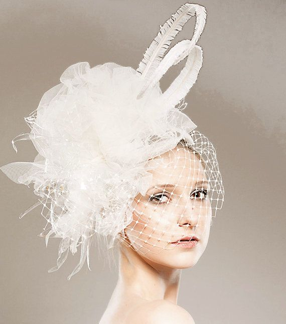1ae7ab95a9648 Eco Bridal Head Piece - Weddings Unique Head Dress Fascinator - Handmade  Birdcage Veiling - Designer - Feathers Recycled Plastic Bottles