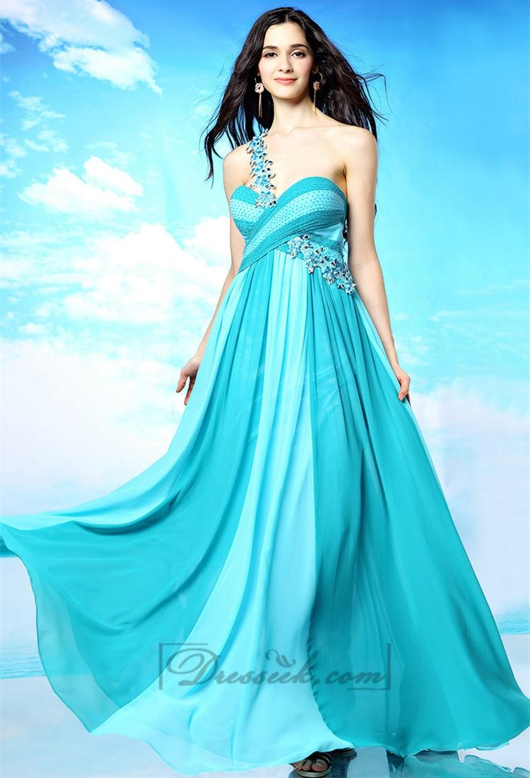 Mariage - Beaded One-shoulder Sweetheart Criss-cross Ruffled Omber Prom Dresses