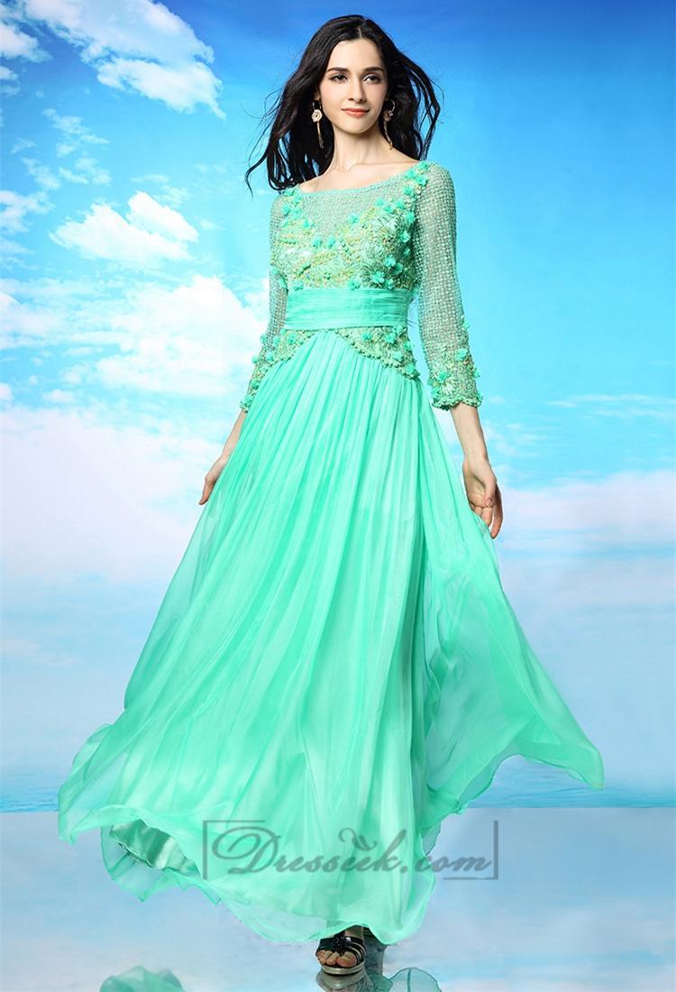Свадьба - Three-Quarter Illusion Sleeves Bateau Neckline Long Prom Dresses