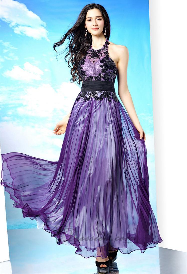 Hochzeit - Halter Illusion Neckline Lace Apliques Open Back Long Prom Dresses