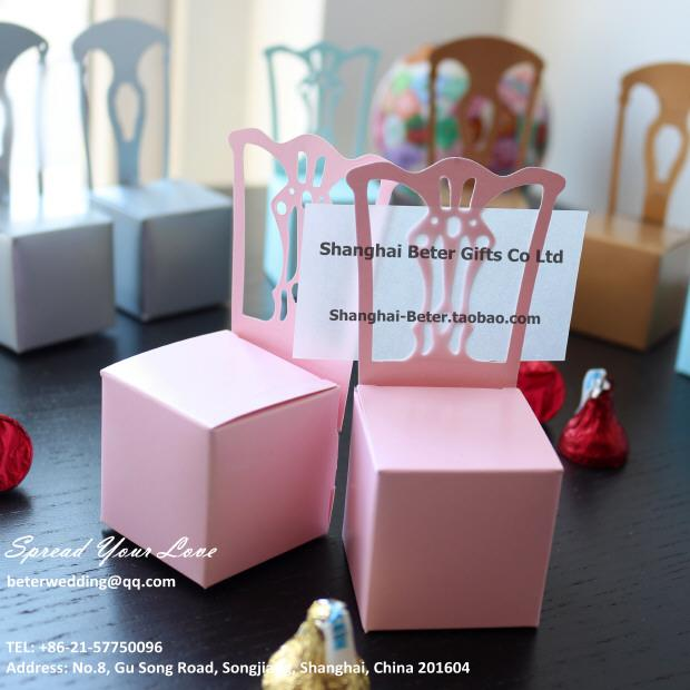 Wedding - Pink Miniature Chair Place Card Holder and Favor Box TH005-B0